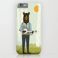 iPhone & iPod Case featuring Bear's Bourree - Bear Playing Banjo by Prelude Posters