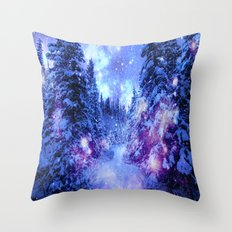 Mystical Snow Forest Throw Pillow