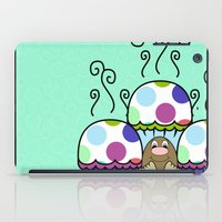 Cute Monster With Pink And Blue Polkadot Cupcakes iPad Case