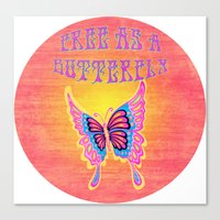 Free As A Butterfly Distressed Canvas Print