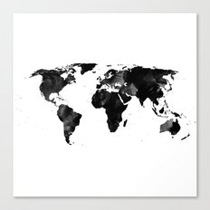 Black watercolor world map Canvas Print