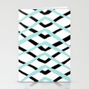 Pattern, turquoise and black Stationery Cards