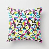 watercolor geometry CMYK Throw Pillow