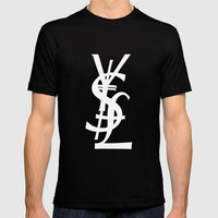 YSL Dollar Yen GBP Symbol Mens Fitted Tee Black SMALL