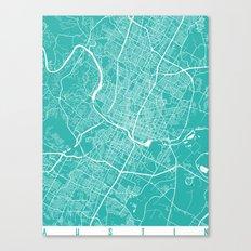 Austin map turquoise Canvas Print