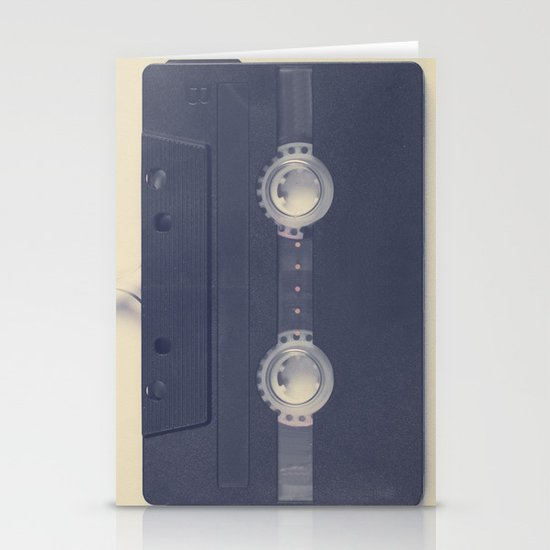 Retro black music cassette and heart shaped tape on beige background Stationery Card