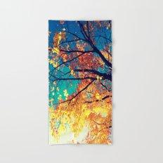 AutuMN Golden Leaves Teal Sky Hand & Bath Towel