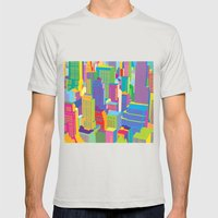 Cityscape windows Mens Fitted Tee Silver SMALL