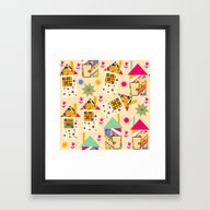 Framed Art Print featuring Houses Pattern  by Luizavictorya72