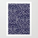 Chalkboard Floral Doodle Pattern in Navy & Cream Art Print