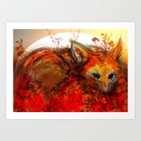 Fox in Sunset III Art Print