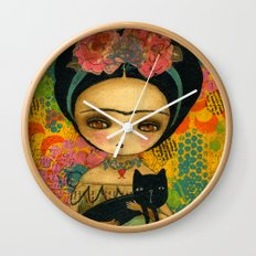 Frida And Her Cat Wall Clock