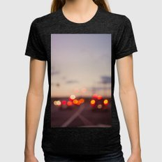 highway at dusk Womens Fitted Tee Tri-Black SMALL