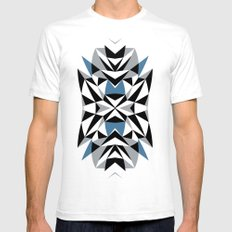 Abstract Kite Black and Blue White Mens Fitted Tee SMALL
