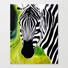 Green Black and White Zebra Canvas Print