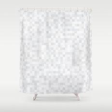 White Cubism Shower Curtain