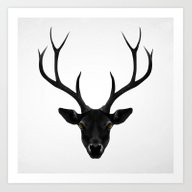 The Black Deer Art Print