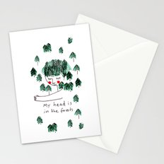 My head is in the forests Stationery Cards