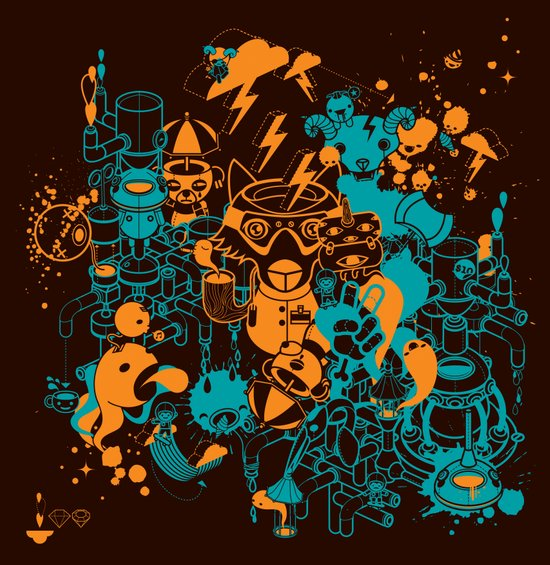 Dream Factory Orange and Blue Art Print
