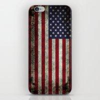 American Flag, Old Glory in dark worn grunge iPhone & iPod Skin