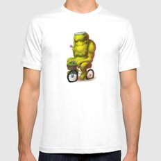 Bike Monster 1 White Mens Fitted Tee SMALL