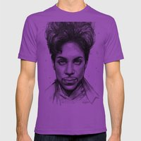 Prince Watercolor Black and White Portrait Mens Fitted Tee Ultraviolet SMALL