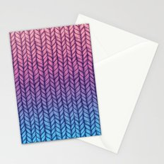 Chunky Knit Pattern in Pink, Blue & Purple Stationery Cards