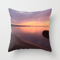 Fiery Sunset over the Porkies Throw Pillow