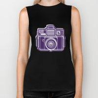I Still Shoot Film Holga Logo - Deep Purple Biker Tank