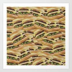 Vintage Cheeseburger Pile Print Art Print