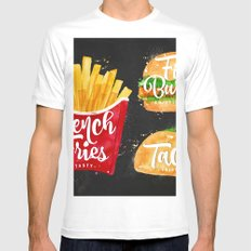 Black French Fries Mens Fitted Tee White SMALL