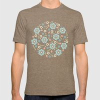 Whimsy Floral Mens Fitted Tee Tri-Coffee SMALL