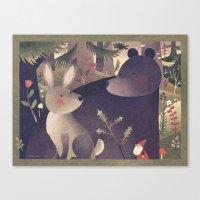 Rabbit, Bear And Gnome Canvas Print