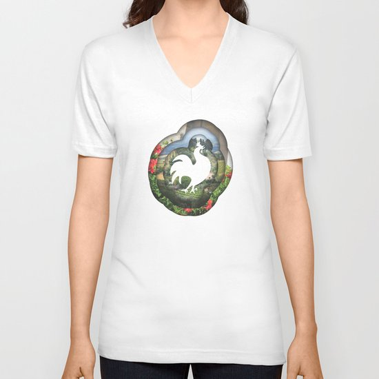 pastoral V-neck T-shirt