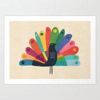 Whimsical Peacok Art Print