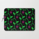 Pink flowers and green vines on black Laptop Sleeve