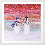 Snowmen With Popsicles Art Print