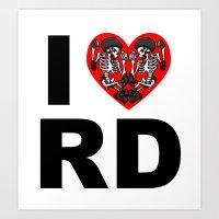 I heart roller derby Art Print