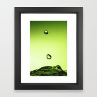 Green water drops Framed Art Print