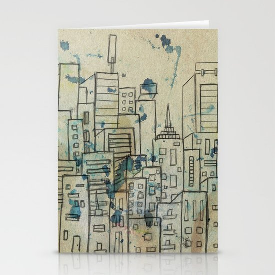 Sketch of buildings in a city that doesn't exist Stationery Card