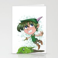 peter pan Stationery Cards featuring Peter Pan by EY Cartoons
