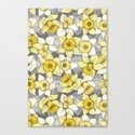 Daffodil Daze - yellow & grey daffodil illustration pattern Canvas Print