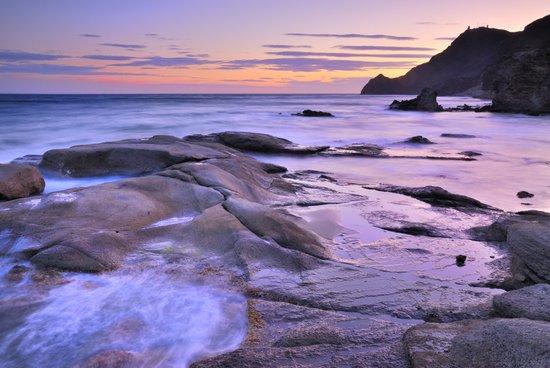 Purple sea sunset Art Print