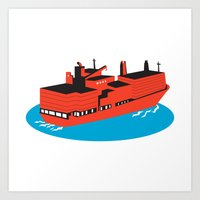 container cargo ship retro Art Print