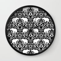 Elephant Damask Black An… Wall Clock