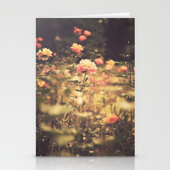 One Rose in a Magic Garden (Vintage Flower Photography) Stationery Card