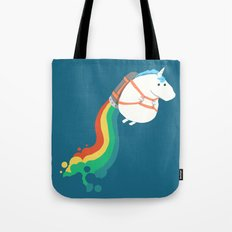 Fat Unicorn On Rainbow J… Tote Bag