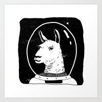 Space llama Art Print