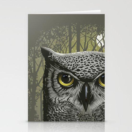 Moon Owl Stationery Card