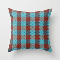 Pixel Plaid - Cranberry Bog Throw Pillow